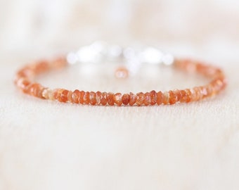 Sunstone Delicate Beaded Bracelet. Sterling Silver, Rose, Gold Filled. Dainty Gemstone Jewelry for Women. Thin Slim Skinny Stacking Bracelet