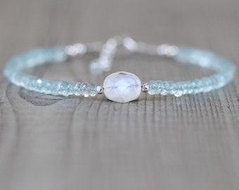 Rainbow Moonstone & Aquamarine Bracelet in Sterling Silver, Gold or Rose Gold Filled. Blue Flash Gemstone Dainty Stacking Bracelet for Women