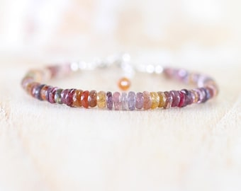 Tundra Sapphire Beaded Bracelet. Sterling Silver, Rose, Gold Filled. Multi Color Gemstone Dainty Stacking Bracelet. Boho Jewelry for Women