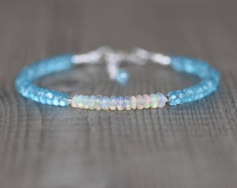 Ethiopian Welo Opal & Sky Blue Topaz Bracelet. Sterling Silver, Rose, Gold Filled. Slim Thin Stacking Bracelet. Delicate Jewelry for Women