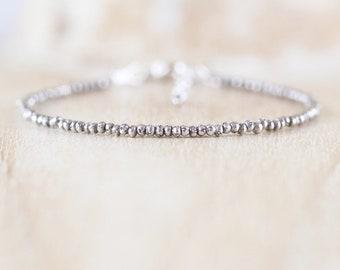 Sterling & Fine Silver Dainty Bracelet, Oxidised Karen Hill Tribe Silver Tiny Beaded Stacking Bracelet, Simple Minimalist Jewelry for Women