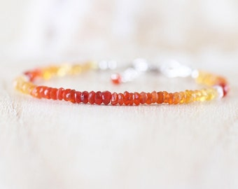 Mexican Fire Opal Dainty Bracelet in Sterling Silver, Gold or Rose Gold Filled. Delicate Ombre Gemstone Beaded Stacking Bracelet for Women