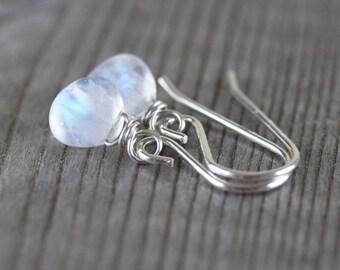 Rainbow Moonstone Dainty Drop Earrings. Sterling Silver, Rose, Gold Filled. AAAA Blue Flash Gemstone Small Simple Dangle Earrings for Women