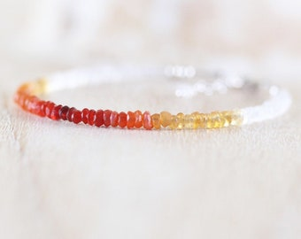 Mexican Fire Opal & Rainbow Moonstone Bracelet. Sterling Silver, Rose, Gold Filled. Dainty Ombre Gemstone Slim Stacking Bracelet for Women