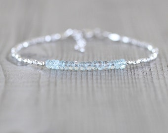 Aquamarine, Sterling & Fine Silver Bracelet. Karen Hill Tribe Silver Dainty Tiny Beaded Stack Bracelet. Delicate Gemstone Jewelry for Women