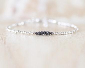 Raw Black Diamond, Sterling & Fine Silver Bracelet. Rough Gemstone Dainty Stacking Bracelet. Delicate Jewelry for Women. Karen Hill Tribe