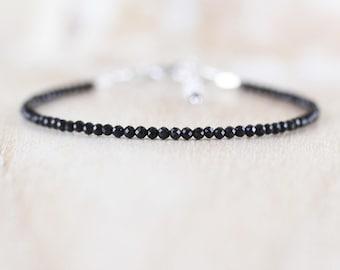 Black Tourmaline Dainty Bracelet. Sterling Silver, Rose, Gold Filled. Slim Stacking Bracelet. Delicate Beaded AAA Gemstone Jewelry for Women