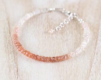 Oregon Sunstone Beaded Bracelet. Sterling Silver, Rose, Gold Filled. Dainty Gemstone Stacking Bracelet for Women. Delicate Layering Jewelry
