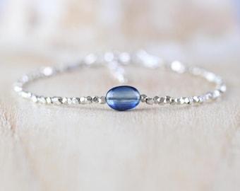 Kyanite, Sterling & Fine Silver Bracelet. Dainty Blue Gemstone Jewelry for Women. Thin Slim Tiny Beaded Stacking Bracelet. Karen Hill Tribe