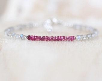 Pink Tourmaline & Labradorite Dainty Bracelet. Sterling Silver, Rose, Gold Filled. Delicate Tiny Beaded Gemstone Stacking Bracelet for Women