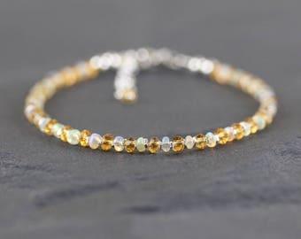 Ethiopian Welo Opal & Citrine Bracelet. Sterling Silver, Rose, Gold Filled. Slim Thin Stacking Bracelet. Dainty Delicate Jewelry for Women