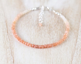Peach Moonstone Dainty Bracelet. Sterling Silver, Rose, Gold Filled. Ombre Gemstone Slim Thin Stacking Bracelet for Women. Delicate Jewelry