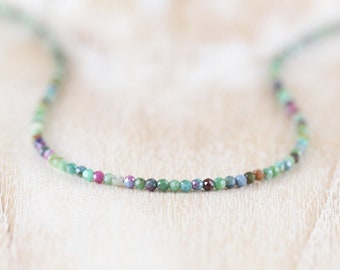 Ruby Zoisite Delicate Beaded Necklace. Sterling Silver, Rose Gold Filled. Dainty Tiny Gemstone Choker. Long Boho Layering Necklace for Women