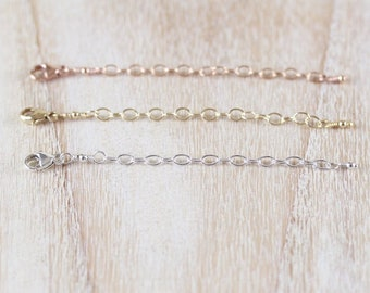 Extender Chain for Necklace & Bracelet. Lobster, Carabiner Clasp. 925 Sterling Silver, Rose, Yellow Gold Filled. 1, 1.5, 2, 2.5, 3 Inches