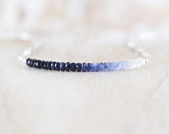 Sapphire, Sterling & Fine Silver Necklace. Dainty Tiny Beaded Choker. Long Delicate Layering Necklace for Women. Ombre Blue Gemstone Jewelry