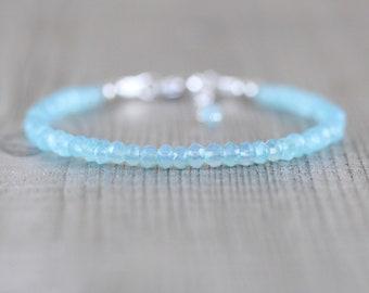 Aqua Chalcedony Bracelet in Sterling Silver, Rose or Gold Filled. Dainty Beaded Stacking Bracelet. Delicate AAA Gemstone Jewelry. Jewellery
