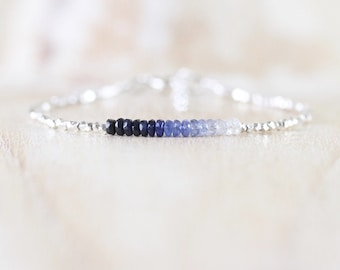 Ombre Sapphire, Sterling & Fine Silver Bracelet. Karen Hill Tribe Silver Dainty Bracelet. Delicate Tiny Beaded Gemstone Jewelry for Women