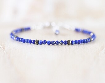Lapis lazuli & Pyrite Bracelet. Sterling Silver, Rose, Gold Filled. Dainty Tiny Beaded Gemstone Jewelry. Slim Stacking Bracelet for Women