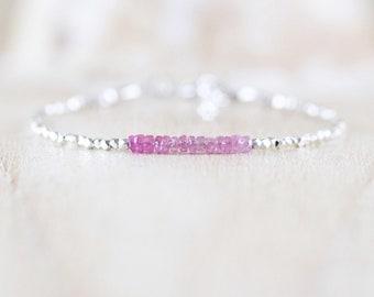 Pink Sapphire, Sterling & Fine Silver Bracelet. Karen Hill Tribe Silver Dainty Bracelet. Delicate Tiny Beaded AAA Gemstone Jewelry for Women