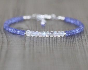 Tanzanite & Rainbow Moonstone Bracelet. Sterling Silver, Rose, Gold Filled. Dainty Blue Flash Gemstone Bracelet, Delicate Jewelry for Women