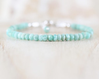 Amazonite Bracelet in Sterling Silver, Gold or Rose Gold Filled. Dainty Aqua Gemstone Beaded Stacking Bracelet. Boho Jewelry Gift for Women