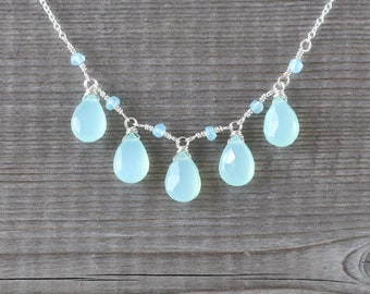Aqua Chalcedony & Sterling Silver Bib Necklace. Sea Foam Green Blue Gemstone Wire Wrapped Necklace for Women. Boho Beaded Layering Jewelry