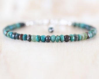 Chrysocolla Beaded Bracelet in Sterling Silver, Gold or Rose Gold Filled, Dainty Gemstone Stacking Bracelet, Delicate Jewelry for Women
