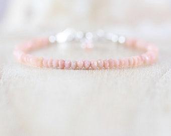 Pink Peruvian Opal Dainty Bracelet. Sterling Silver, Rose, Gold Filled. Slim Thin Stacking Bracelet. Delicate AAA Gemstone Jewelry for Women