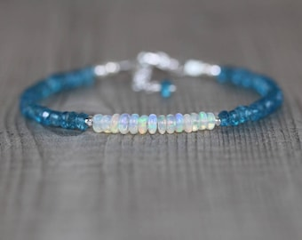 Ethiopian Welo Opal & London Blue Topaz Dainty Bracelet. Sterling Silver, Rose, Gold Filled. Delicate Gemstone Stacking Bracelet for Women