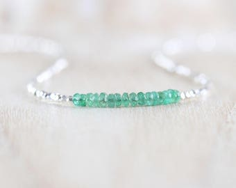 Zambian Emerald, Sterling & Fine Silver Necklace. Dainty Gemstone Choker. Delicate Tiny Beaded Layering Necklace for Women. Karen Hill Tribe