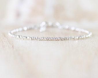 Sterling & Fine Silver Dainty Bracelet. Slim Thin Tiny Beaded Stacking Bracelet. Delicate Minimalist Jewelry for Women. Karen Hill Tribe