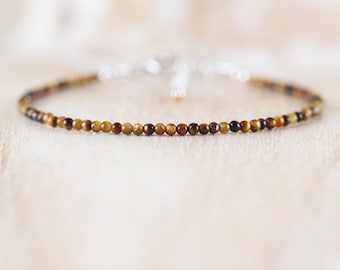 Tigers Eye Dainty Bracelet. Sterling Silver, Rose, Gold Filled. Delicate Tiny Gemstone Beaded Jewelry for Women. Slim Thin Stacking Bracelet
