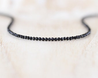 Black Tourmaline Delicate Beaded Necklace in Sterling Silver, Gold or Rose Gold Filled. Dainty Tiny Gemstone Choker. Long Layering Necklace