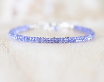 Tanzanite Dainty Bracelet. Sterling Silver, Rose, Gold Filled. Slim Thin Stacking Bracelet. AAA Gemstone Delicate Beaded Jewelry for Women
