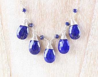 Lapis Lazuli & Sterling Silver Bib Necklace. Blue Gemstone Wire Wrapped Bead Necklace. Layering Jewelry. Womans Boho, Bohemian Jewellery