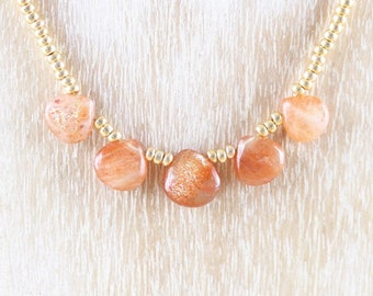 Sunstone, Miyuki Seed Bead & 18Kt Gold Filled Necklace. Dainty Tiny Beaded Bib Necklace. Delicate AAA Gemstone Layering Jewelry for Women