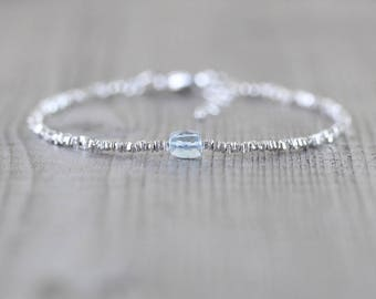 Sky Blue Topaz, Sterling & Fine Silver Bracelet. Dainty Gemstone Cube Bracelet. Thin Delicate Stacking Bracelet for Women. Karen Hill Tribe