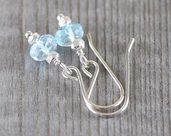 Sky Blue Topaz Dainty Earrings, Sterling Silver, Rose, Gold Filled. Small, Lightweight, Everyday Earrings. Womans Minimalist Jewellery Gift