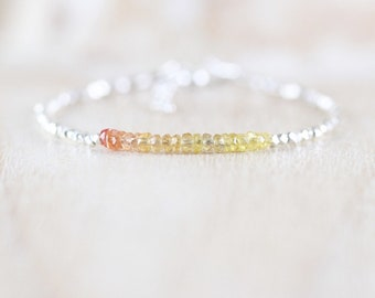 Padparadscha Sapphire, Sterling & Fine Silver Bracelet. Dainty Yellow Gemstone Tiny Beaded Stacking Bracelet for Women. Karen Hill Tribe