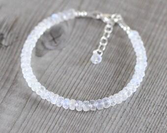 Rainbow Moonstone Beaded Bracelet. Sterling Silver, Rose, Gold Filled. AAA Flashy Blue Gemstone Jewelry for Women. Dainty Stacking Bracelet
