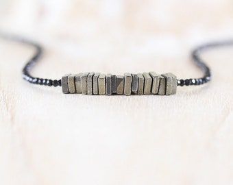 Pyrite & Black Spinel Necklace. Sterling Silver, Rose, Gold Filled. Dainty AAA Gemstone Heishi Bead Choker. Long Layering Necklace for Women