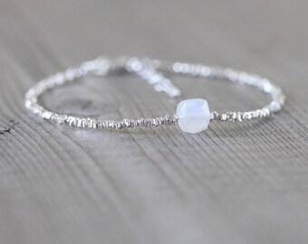 Rainbow Moonstone, Sterling & Fine Silver Bracelet. Blue Flash Gemstone Jewelry for Women. Tiny Beaded Stacking Bracelet. Karen Hill Tribe