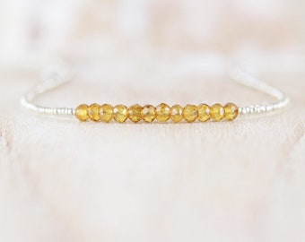 Citrine, Czech Seed Bead & Sterling Silver Necklace. Delicate Beaded Choker or Long Layering Necklace. AAAA Gemstone Jewelry. Jewellery