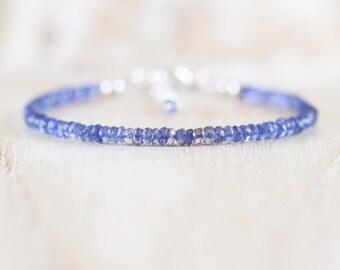 Iolite Delicate Beaded Bracelet. Sterling Silver, Rose, Gold Filled. Dainty Blue AAA Gemstone Jewelry. Slim Thin Stacking Bracelet for Women