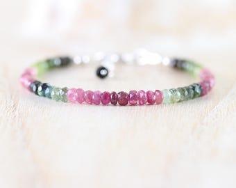 Watermelon Tourmaline Beaded Bracelet. Sterling Silver, Rose, Gold Filled. Pink & Green Gemstone Dainty Delicate Stacking Bracelet for Women