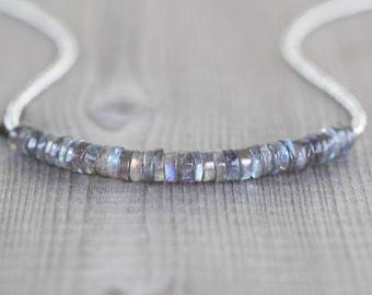 Labradorite, Miyuki Seed Bead & Sterling Silver Necklace. AAA Blue Flash Gemstone Heishi Bead Choker. Chunky Boho Layering Jewelry for Women