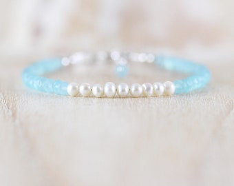 Aqua Chalcedony & Freshwater Pearl Bracelet in Sterling Silver, Rose or Gold Filled. Beaded Gemstone Jewelry. Dainty Stacking Bracelet