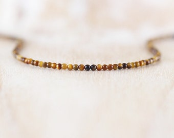 Delicate Tigers Eye Beaded Necklace in Sterling Silver, Gold or Rose Gold Filled, Dainty Gemstone Choker, Long Layering Necklace for Women