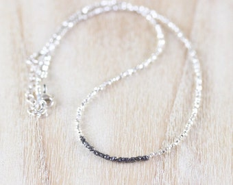Rough Black Diamond, Sterling & Fine Silver Necklace. Dainty Tiny Raw Gemstone Choker. Delicate Tiny Beaded Layering Necklace for Women