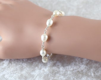 Freshwater Rice Pearl & Sterling Silver Bracelet. Natural White Ivory Genuine Pearl Bracelet. Womans Wire Wrapped Rosary Style Bracelet